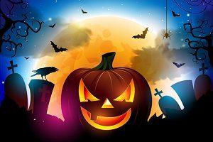 Halloween Pumpkin on spooky Halloween backdrop.